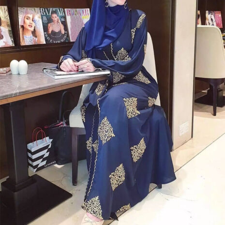 abaya kimono broderie arabesque muslim mine
