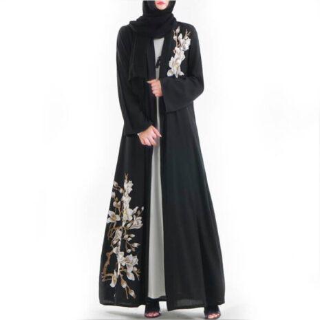 abaya kimono fleuri muslim mine