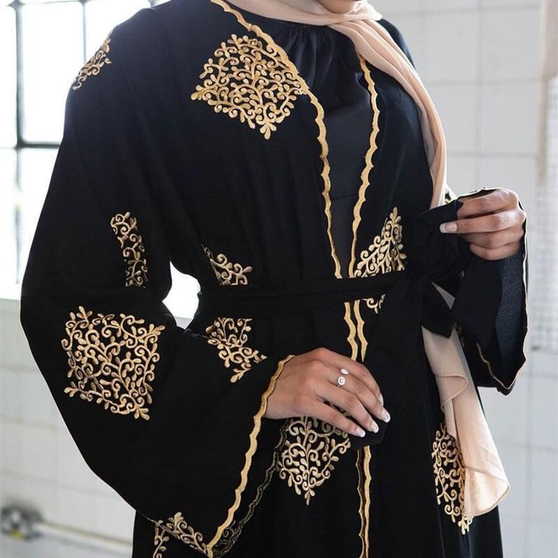 broderie abaya kimono broderie arabesque muslim mine