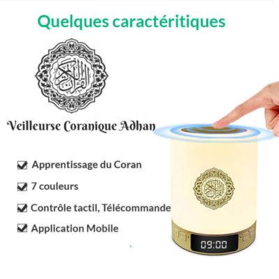 caractéristiques veilleuse-coranique adhan muslim mine