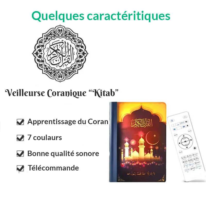 caractéristiques veilleuse coranique livre muslim mine