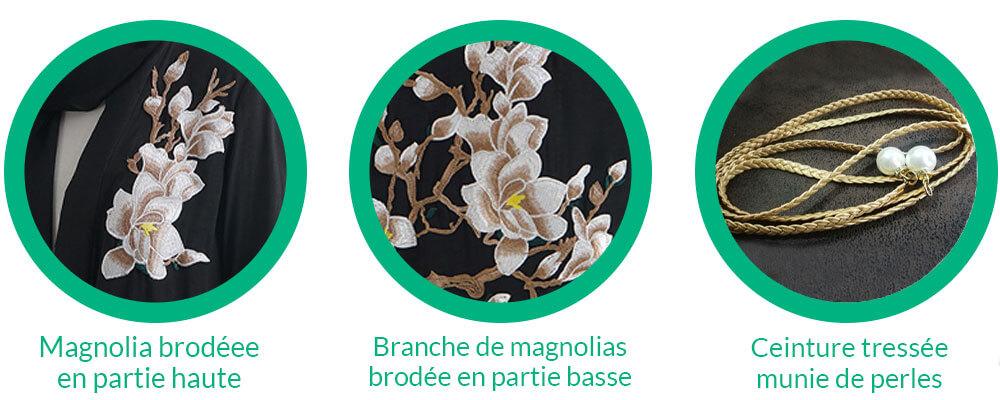 details magnolia abaya kimono fleuri muslim mine