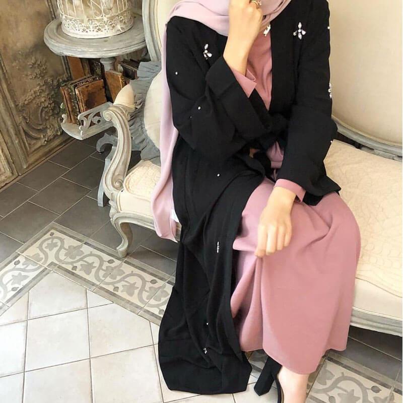 femme porte abaya kimono diamant muslim mine