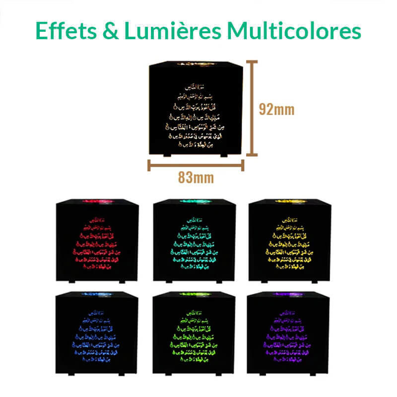 lumiere couleurs led cube coranique muslim mine