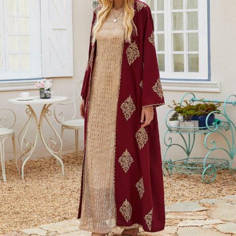 modele elegant abaya kimono-broderie arabesque muslim mine