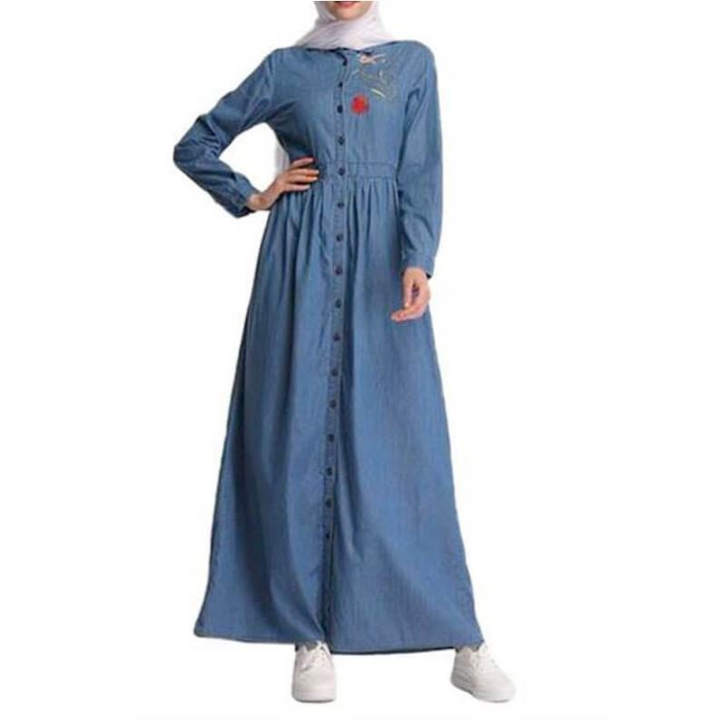 robe longue en jean brodée muslim mine