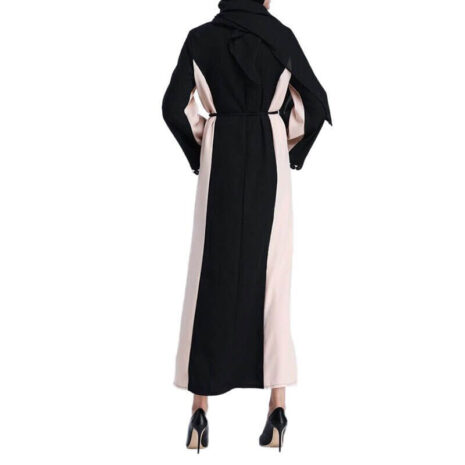 abaya fermée en dentelle de dos muslim mine