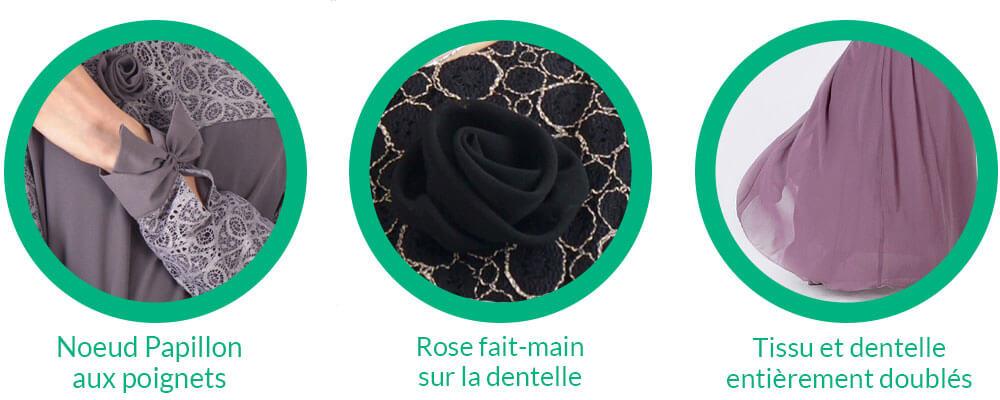 detail robe musulmane dentelle muslim mine