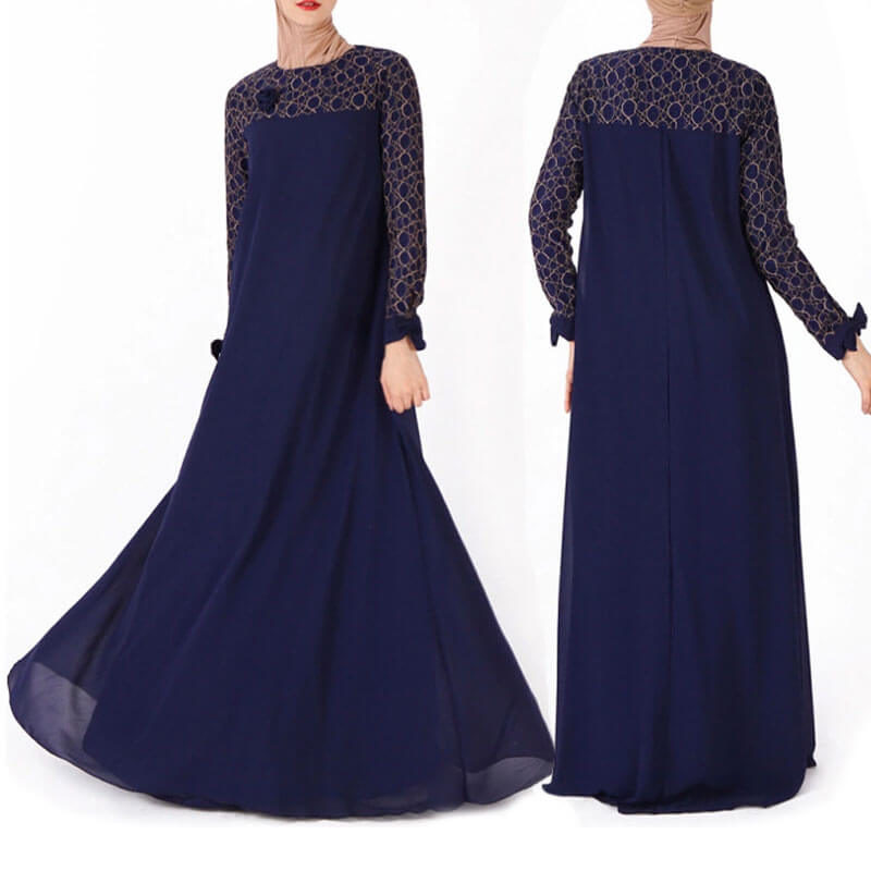 robe musulmane dentelle bleu marine muslim mine