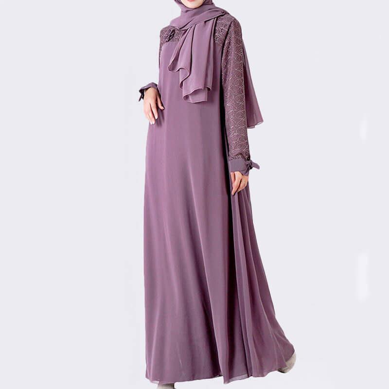 robe musulmane dentelle rose papillon muslim mine