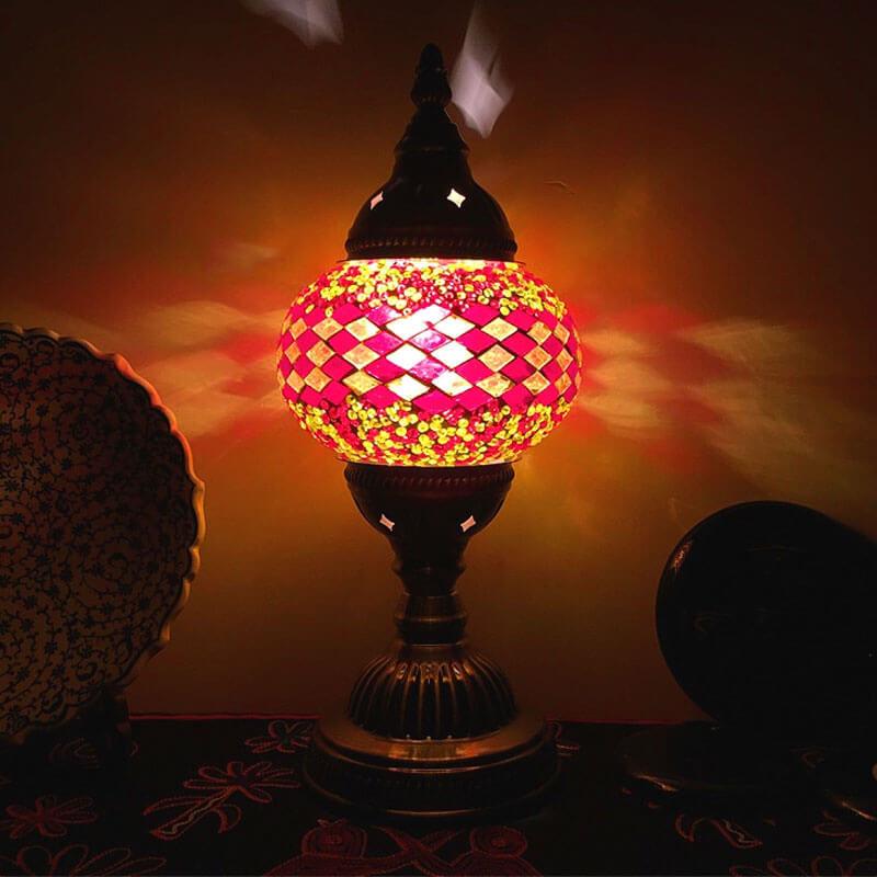 lampe turque ethnique orange luminaire muslim mine