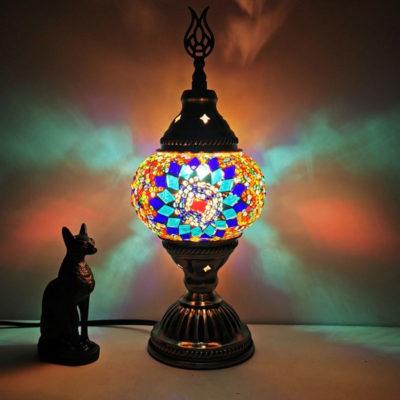 lampe turque zellige bleu lumineuse muslim mine